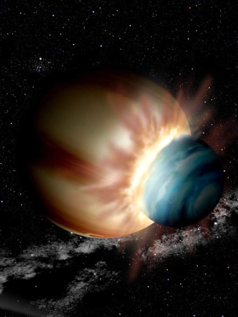 Image: An artist's concept of the aftermath of a collision between two protoplanets