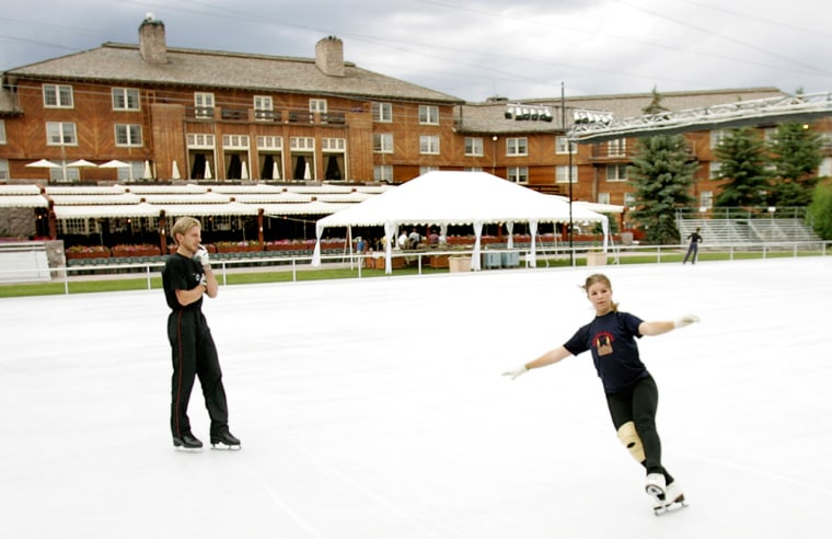 Image: A couple skates at the Sun Valley Lodge in Sun Valley, Idaho.