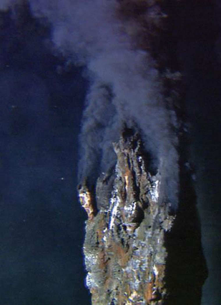 """Hydrothermal vents, or """"black smokers,"""" at the East Pacific Rise study area spew out hot water and a stew of chemicals."""