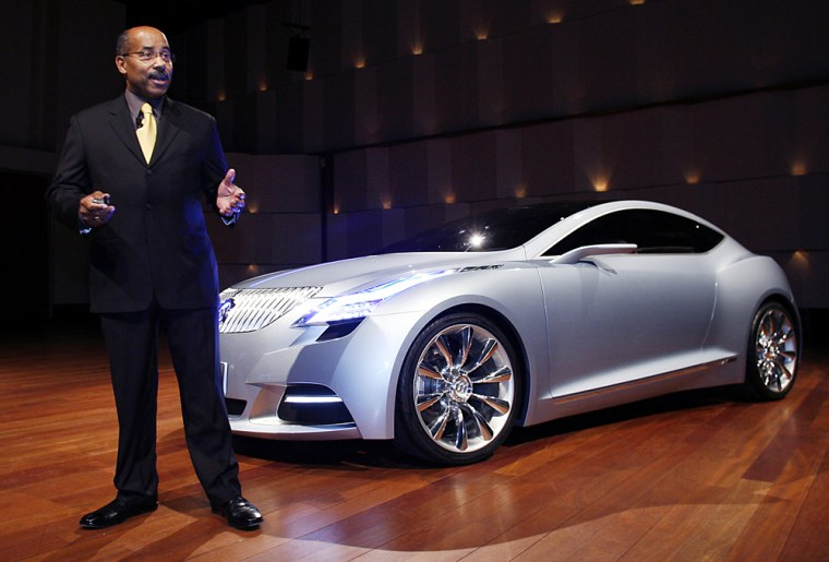 Image: Ed Welburn, vice president of GM Global Design, addresses the media during a press conference for the Buick Riviera concept at the Max M. Fisher building in Detroit