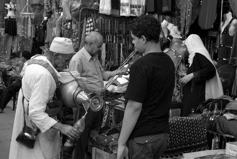 Image: Cairo; The Middle Ages live: A drink seller at the Khan al-Khalili market.