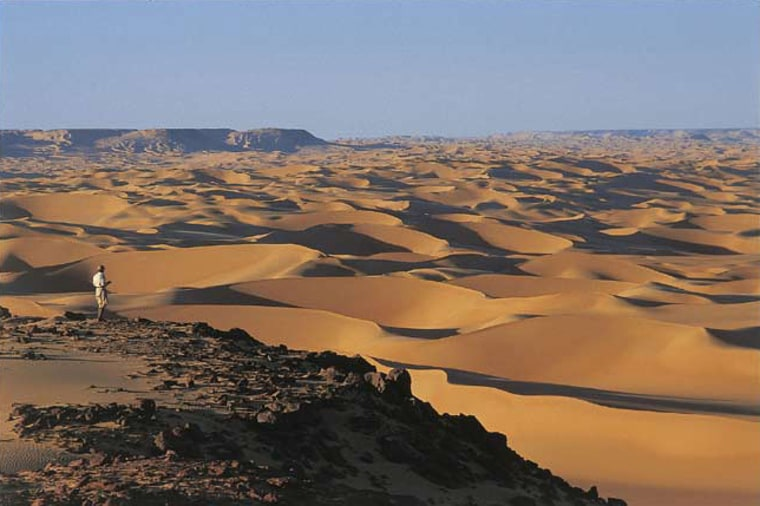 View of the Great Sand Sea of Egypt from the Gilf Kebir Plateau in the Sahara desert.