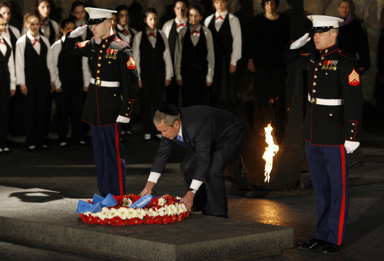 George Bush Visits Yad Vashem Holocaust Memorial