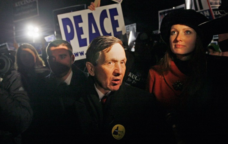 Image: Democratic presidential hopeful Rep. Dennis Kucinich in Manchester, N.H. on Jan. 5, 2008.