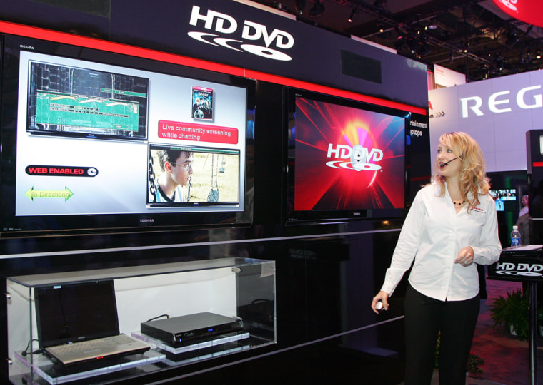 Image: Toshiba spokesperson Lori Leland gives a demonstration of HD DVD