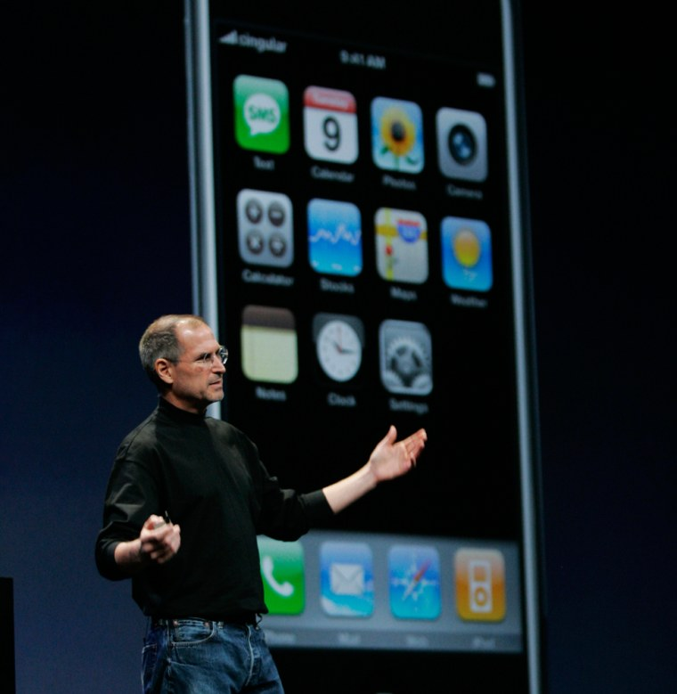 Image: Apple CEO Steve Jobs shows off the new iPhone at the MacWorld Conference & Expo in San Francisco