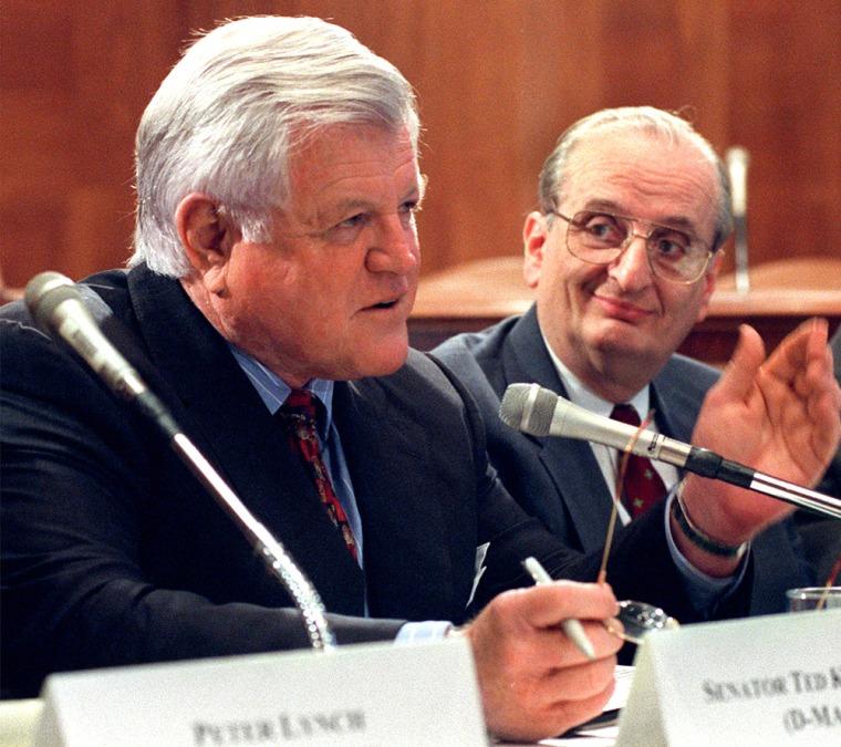 Image: Sen. Edward Kennedy, D-Mass., left, and Dr. Judah Folkman of Harvard University' s School of Medicine, meet with reporters