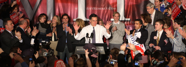 Image: Mitt Romney And Supporters Attend Michigan Primary Night Event