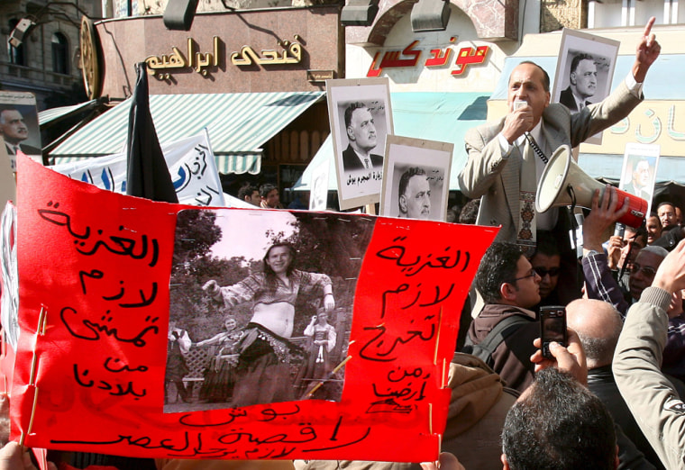 Image: Demonstrators from the opposition Tagama and Nasserite parties protest against the upcoming visit of US President George W. Bush to Egypt