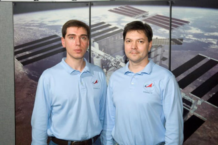 Russia's Federal Space Agency cosmonauts Sergei Volkov, left,and Oleg Kononenko will serve asExpedition 17's commander and flight engineer, respectively.