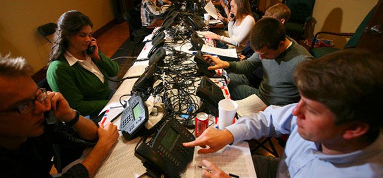 Image: McCain campaign volunteers answering phones.