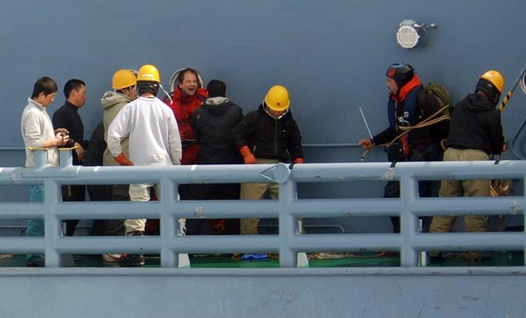 Image: Detained activists on whaling ship Yushin Maru