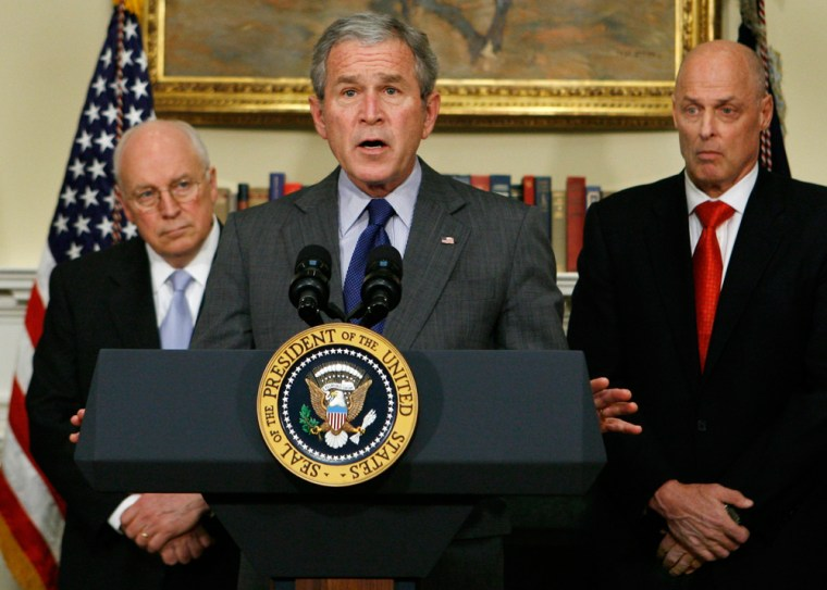 Image: President George bush makes a statement on the economy
