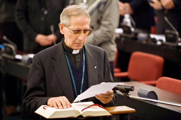 Image: Spanish Father Adolfo Nicolas holds his speach after his election at the head of the Society of Jesus