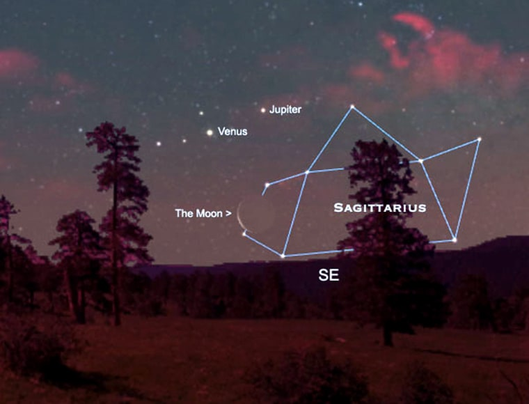 Image: Before sunrise on February 4, Venus and Jupiter will be joined by a thin crescent moon