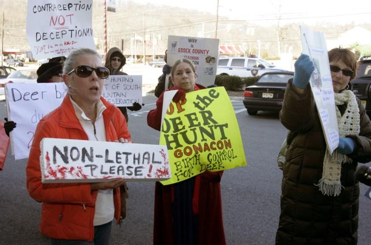 Deer hunt protesters rally Friday in West Orange, N.J.