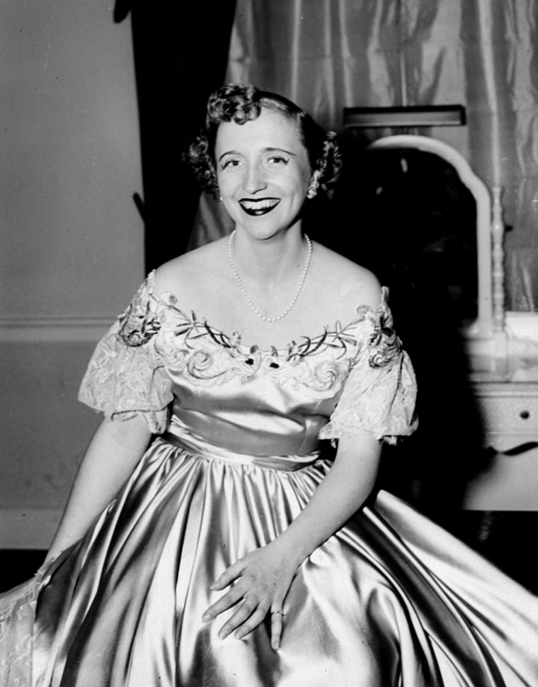 Margaret Truman after a concert appearance in Constitution Hall in Washington in 1950, when she sang before her parents and British Prime Minister Clement Attlee. She had careers as a concert singer, actress, radio and TV personality and mystery writer.