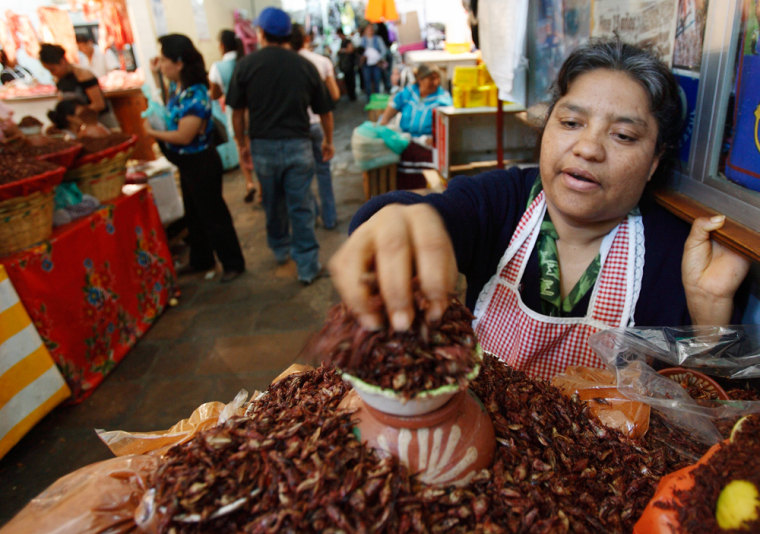 Image: Peta Ruiz sells a local delicacy of grasshoppers bathed in chile powder and salt in the city market in Oaxaca, Mexico.