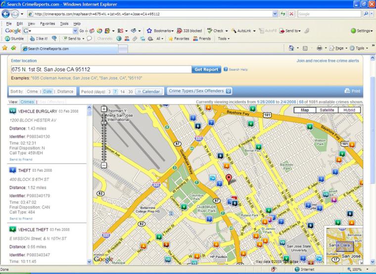 Image: CrimeReports.com screenshot