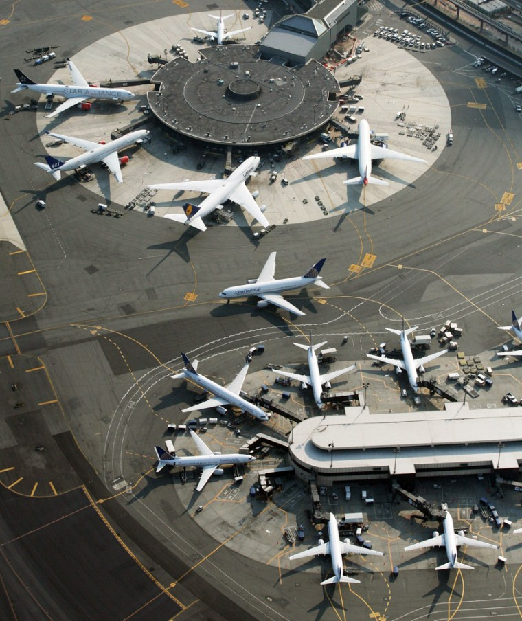 Image: Passenger planes are parked at Newark International Airport