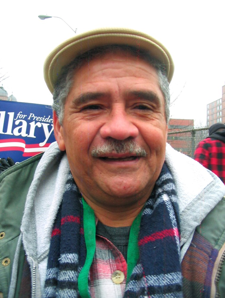 Hartford, Conn. voter Luis Diaz Jimenez cast his ballot for Sen. Hillary Clinton Tuesday morning.