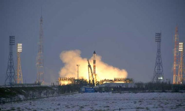 A Russian Soyuz rocket launches the Progress 28 cargo ship