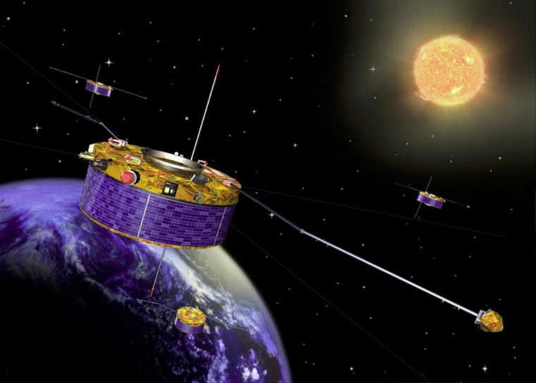 Image: Artist's impression of the Cluster spacecraft