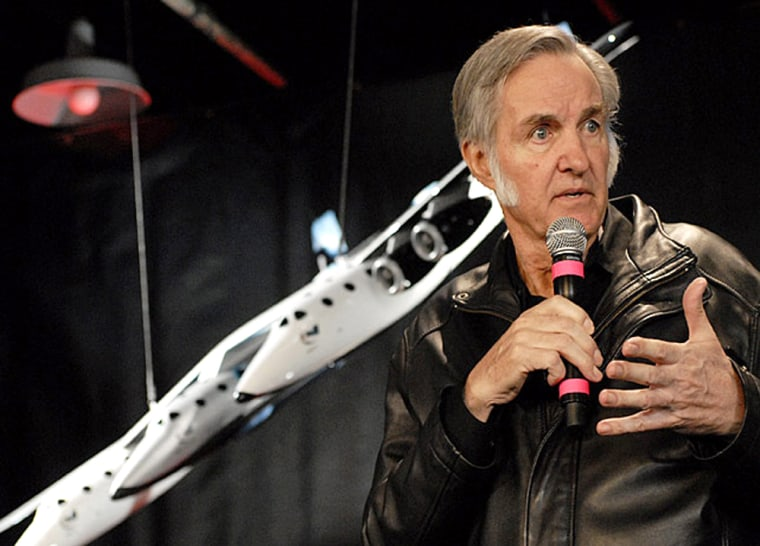 Aerospace pioneer Burt Rutan discusses the design for SpaceShipTwo, a suborbital piloted spacecraft under construction by his firm Scaled Composites. The company says it will appeal fines levied by California officials following a fatal blast at its site in July.