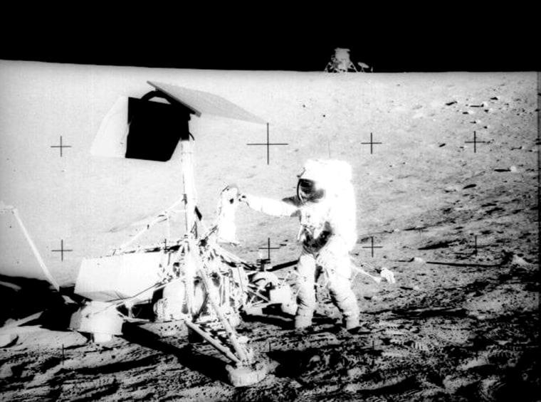 The touchdown of Apollo 12 near Surveyor 3 provides key data on the sandblasting effects of lunar landers.