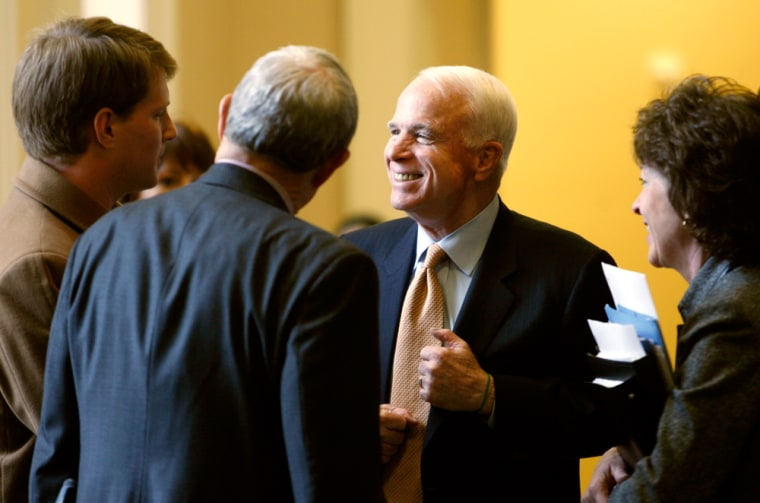 Image: John McCain speaks after a luncheon on Capitol Hill in Washington.