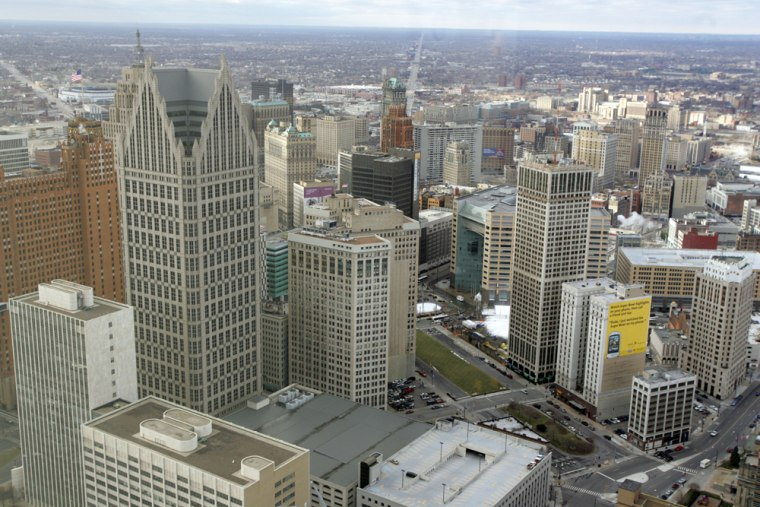 Image: An aerial view of downtown Detroit.