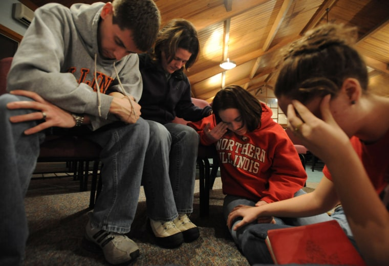 Image: a prayer vigil at Wellspring Chapel for the victims of the NIU shooting