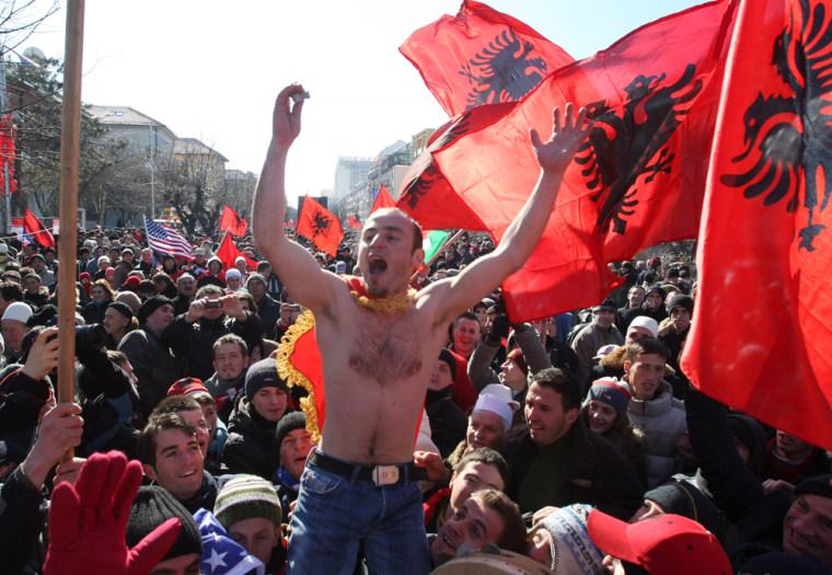 Image: Kosovo's Albanians celebrate in the centre of Pristina