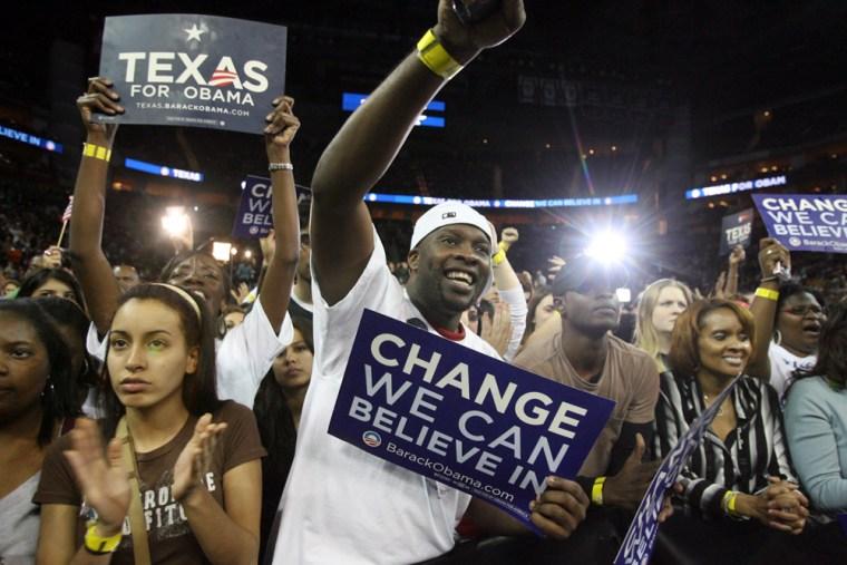 Image: Supporters of Barack Obama in Houston.