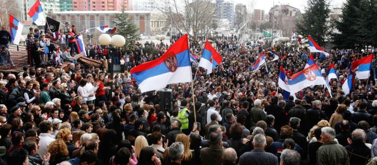 Image: Kosovo Serbs attend a protest.