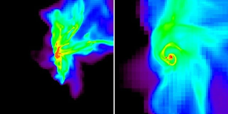 Image: Simulation of the collapse of an interstellar gas cloud