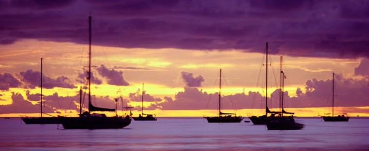 Image: Yachts at Sunset, Papeete, Tahiti