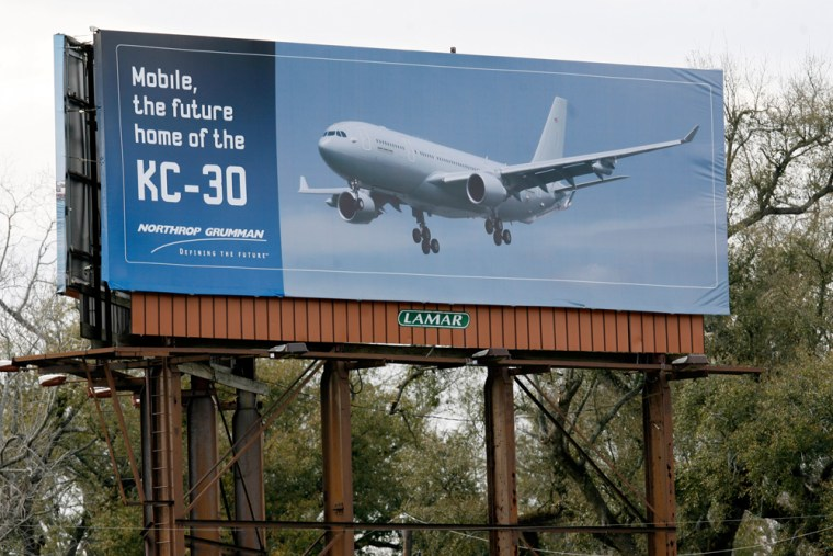 """Image: A Northrop Grumman billboard advertising """"Mobile, The future home of the KC-30"""""""