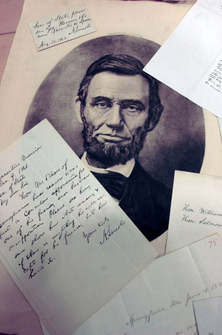 Image: letters and memos written by and to Abraham Lincoln