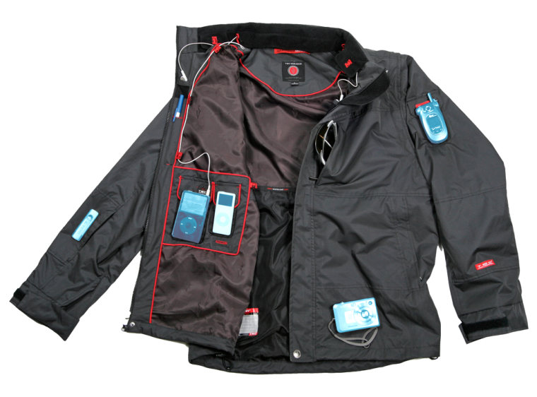The waterproof Evolution jacket ($150) by SCOTTeVest has 25 hidden pockets and compartments, as well as removable sleeves and hood.