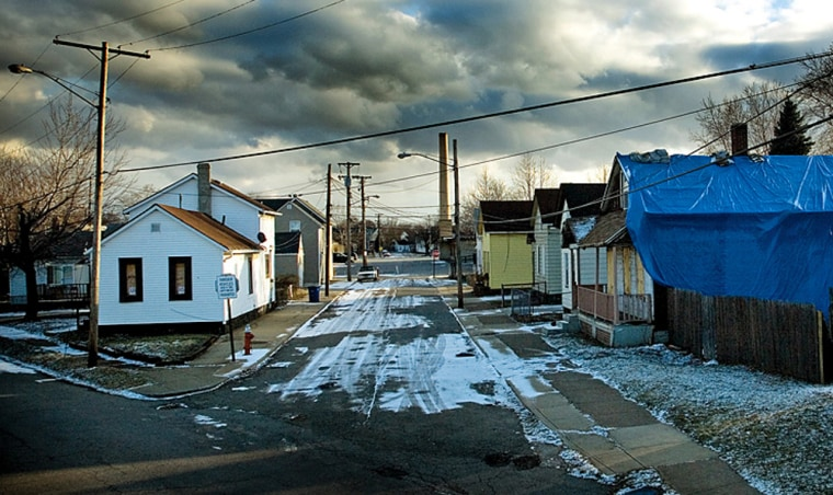 Abandoned homes are seen in the Slavic Village section of Cleveland. The housing crisis isvery much on the minds of many Ohio voters: 3.72% of all the state's mortgages are in foreclosure.