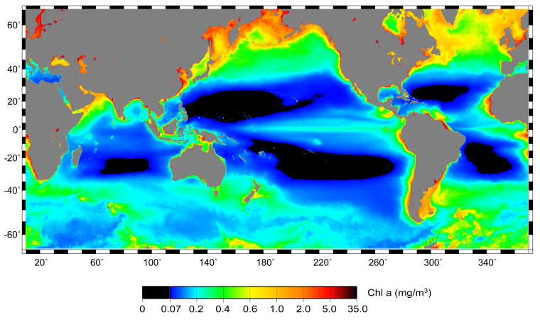 New research uses satellite data to show ocean productivity. The black areas are the least productive.