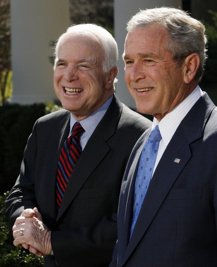 Image: U.S. President George W. Bush, Republican Presidential candidate John McCain