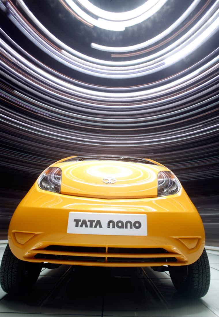 Image: A Tata Nano is displayed during the second media day of the 78th Geneva Car Show at the Palexpo in Geneva