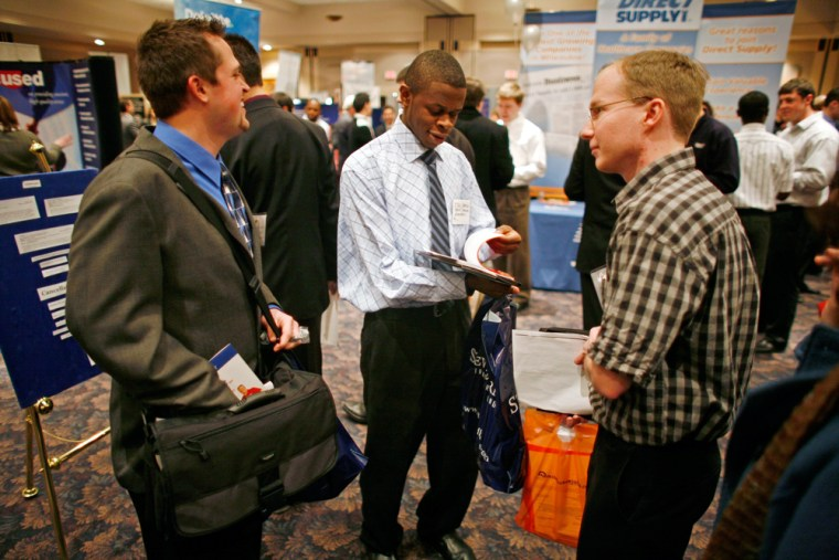 Image: College students a career day event.