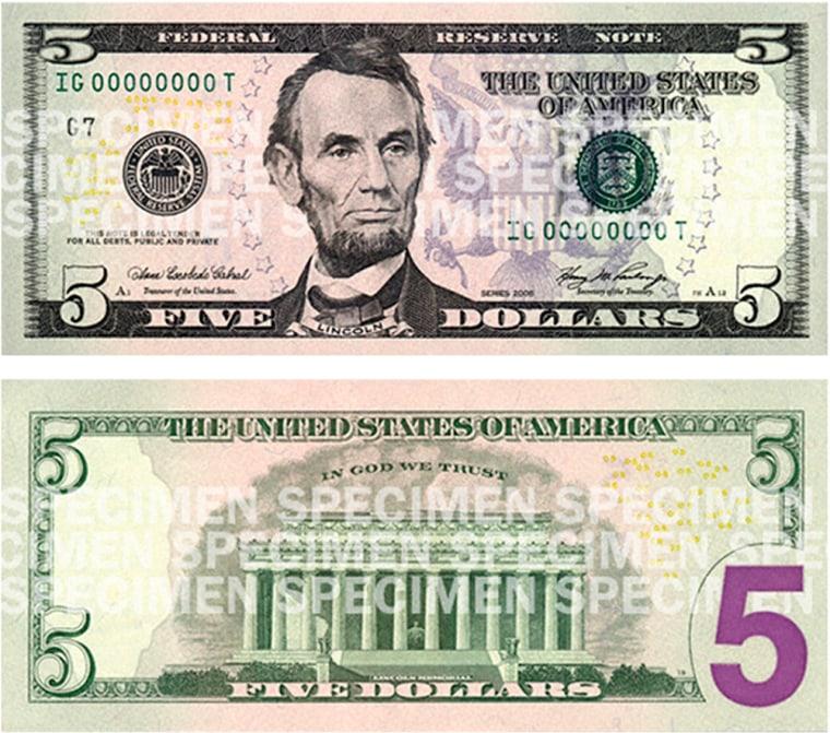 Image: new five dollar bill