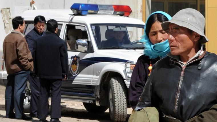 A heavy police presence greets Tibetan Buddhist pilgrimsvisiting the sacred Labrang Monastery inXiahe on Thursday.
