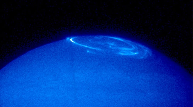 Image: Ultraviolet image of the northern pole of Jupiter