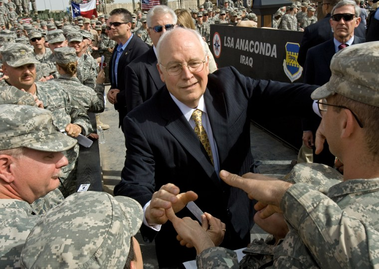 Image: US Vice President Dick Cheney greets US troops stationed at Balad Air Base, Iraq