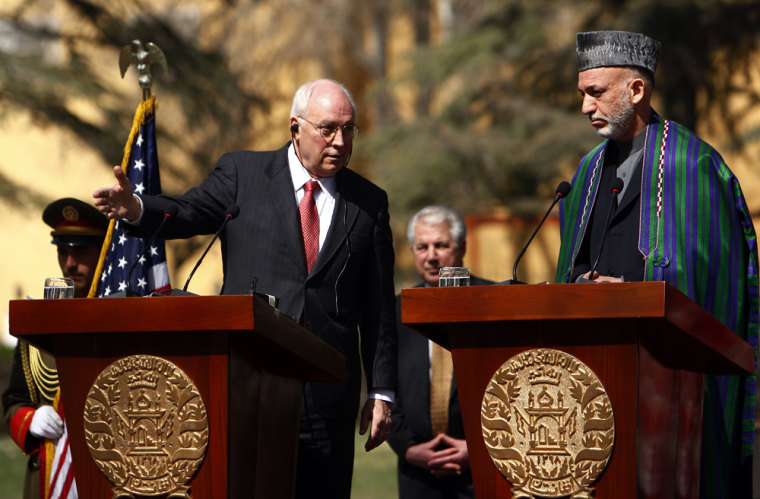 Image: U.S. vice-President Dick Cheney speaks as Afghan President Hamid Karzai looks on
